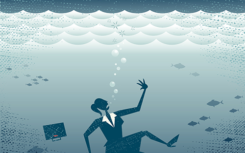 Great illustration of a Retro styled Businesswoman Sinking down to the bottom of the Corporate Sea to a watery grave.